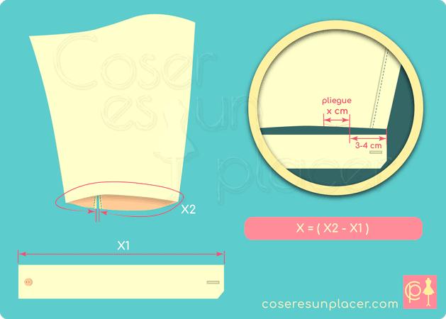 Estrechar la manga de camisa con un pliegue para adecuarla al tamaño del puño