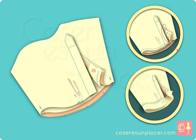 Montaje clásico del puño de camisa