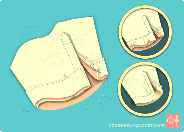 Montaje del puño de camisa tipo blusa