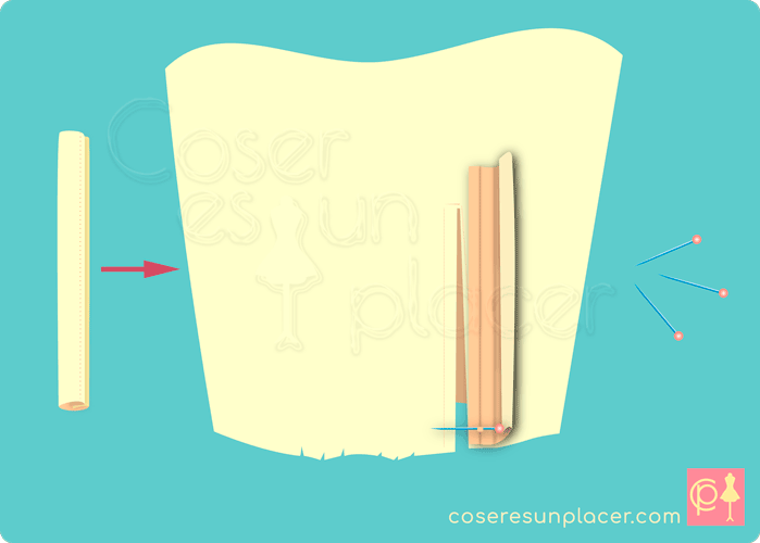 Colocar la vista en la parte baja de la obertura de una manga de camisa