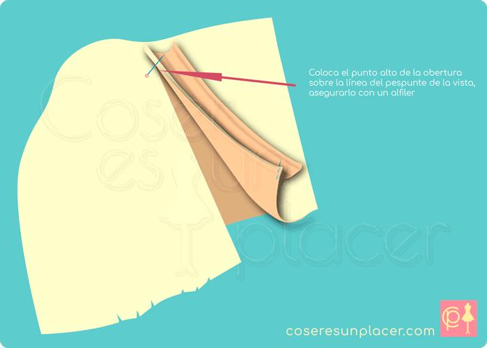Colocar la vista en el punto alto de la obertura de la manga de camisa