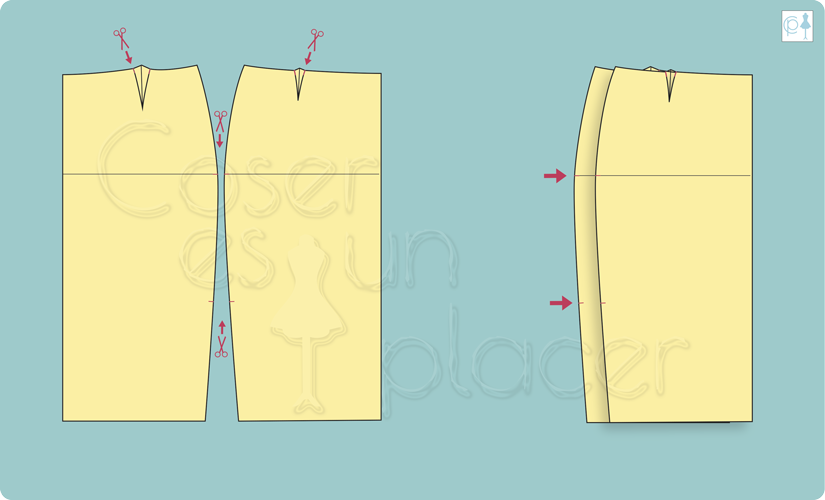 Fallos de patrones de revistas de moda en los piquetes para la unión de los bordes de detalles en una falda