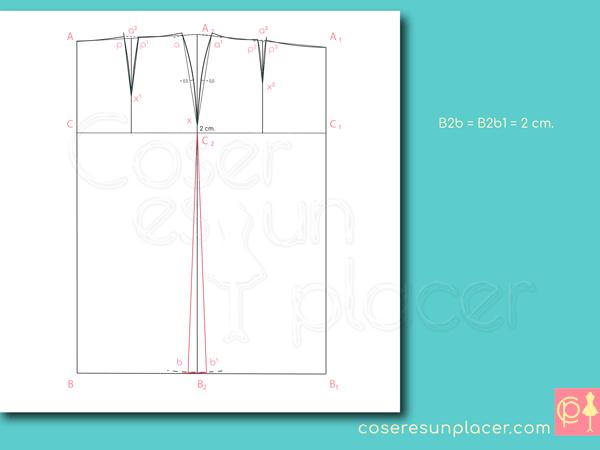Trazado del costado lateral en el patron base de falda recta